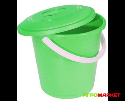 Ведро пластиковое с крышкой 10л Зеленое