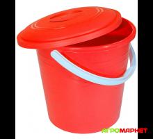 Ведро пластиковое с крышкой 10л Красное
