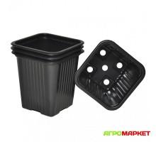 Горшок рассадный пластиковый квадратный черный 0,23л 7см х 7см h-8см 10шт MultiDacha