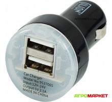 USB-адаптер для автомобиля 12/24В, 5В, 2,1А, 2-usb серия S цвет черный Jilion